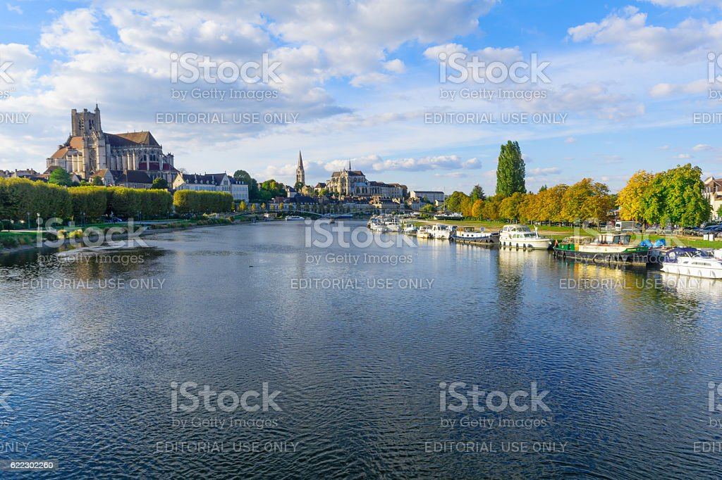 Yonne River and churches, in Auxerre stock photo