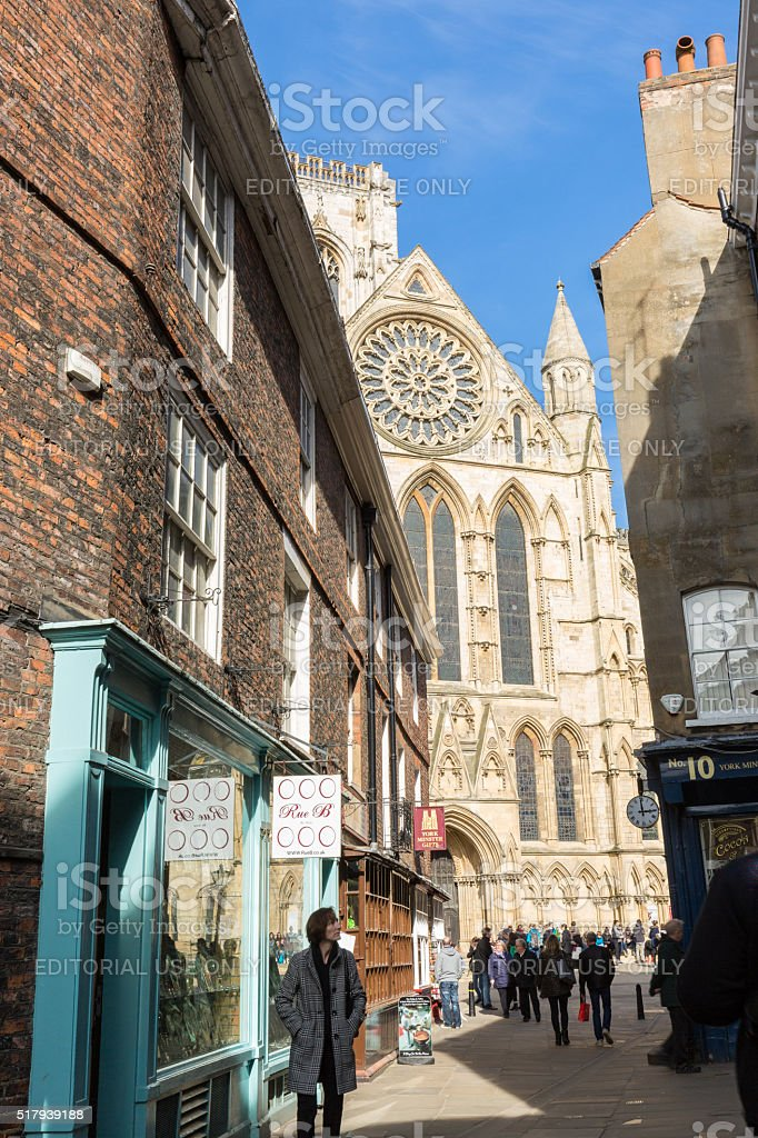 York city street scene in United Kingdom with minster cathedral stock photo