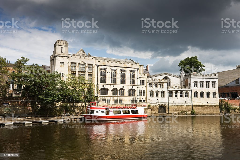York Guild Hall and Tour Boat royalty-free stock photo