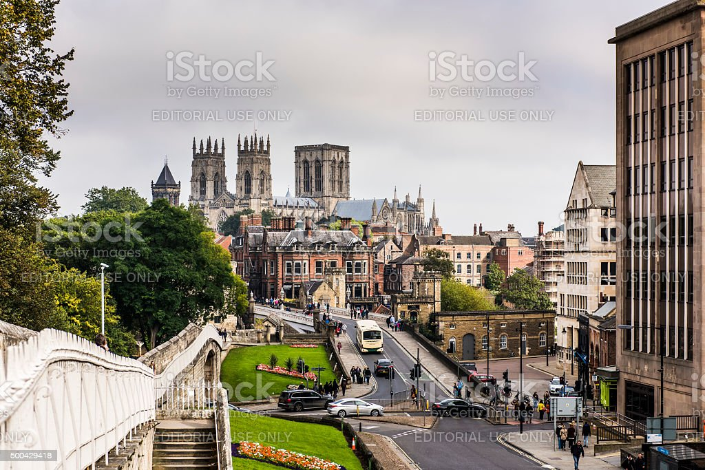 York Minster and CIty Walls stock photo