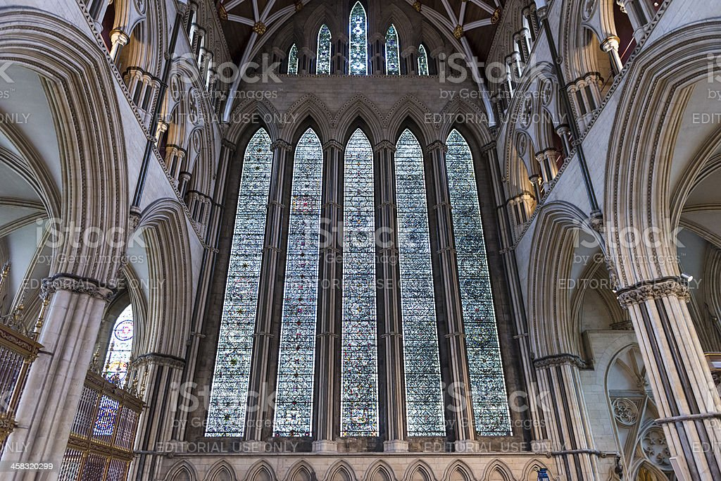 York Minster North Transept stained glass, UK royalty-free stock photo