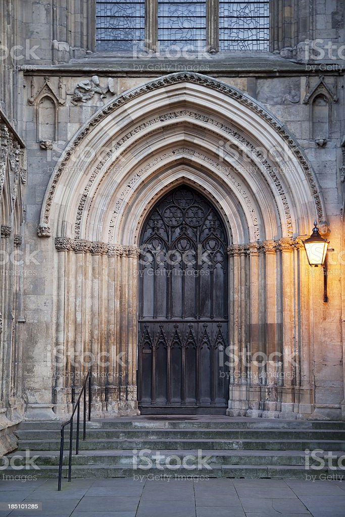 York Minster, west end doorway, dusk royalty-free stock photo