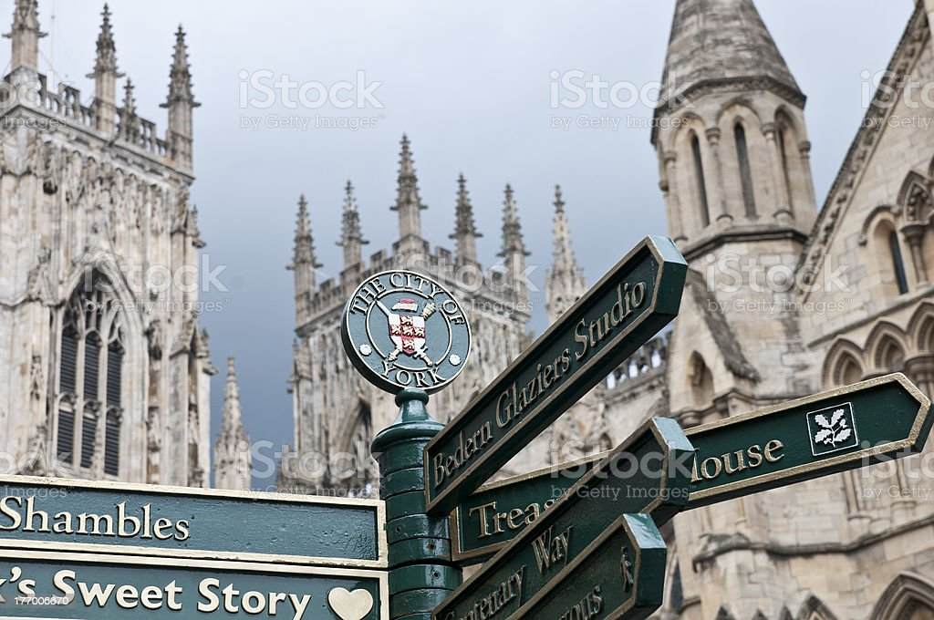 York signpost with Minster in background stock photo