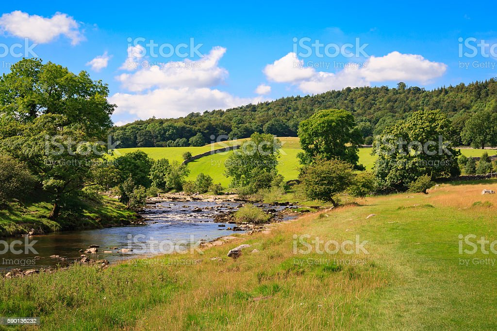 Yorkshire Dales view along the River Wharfe near Grassington stock photo
