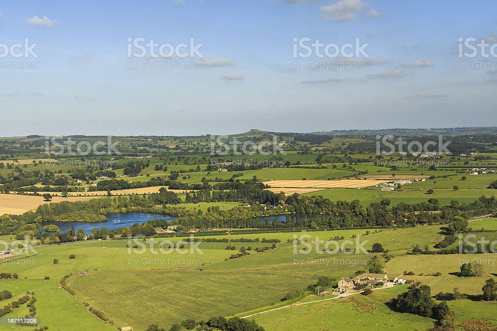 Yorkshire landscape and Almscliffe Crag royalty-free stock photo