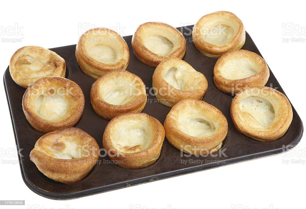 Yorkshire Puddings on Baking Tray stock photo
