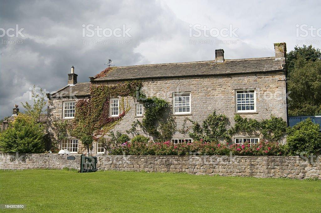 Yorkshire stone farmhouse. Mid 18th Century stock photo