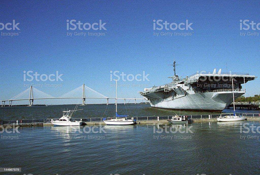 USS Yorktown & Cooper River Bridge stock photo