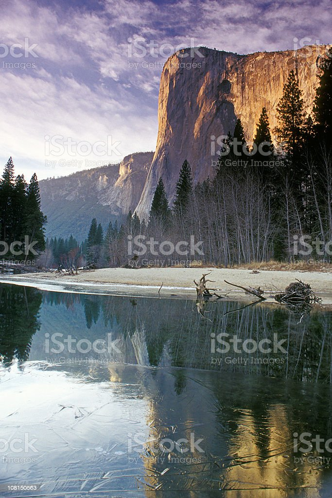 Yosemite El Capitan Mountain During Winter royalty-free stock photo