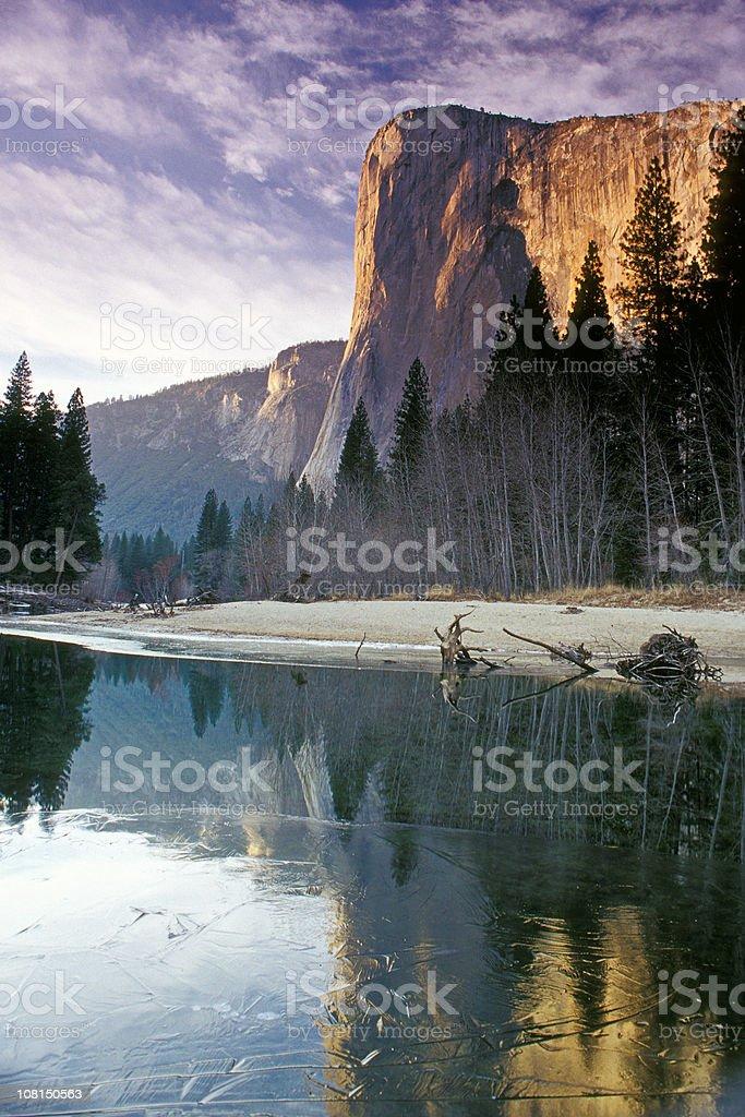 Yosemite El Capitan Mountain During Winter stock photo
