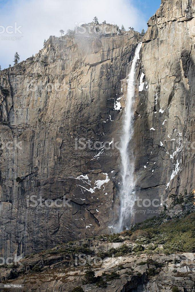 Yosemite Fall in the winter stock photo