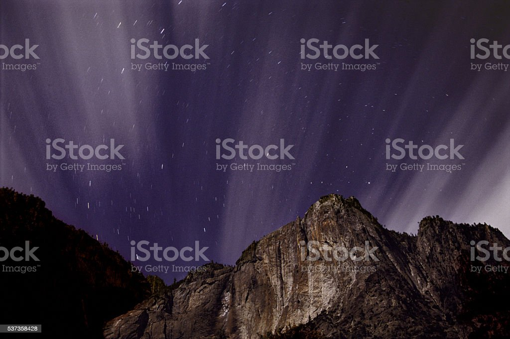 Yosemite falls (dry) and stars stock photo