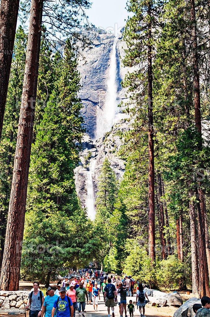 Yosemite Falls Iconic Viedws with Men Women and Children stock photo