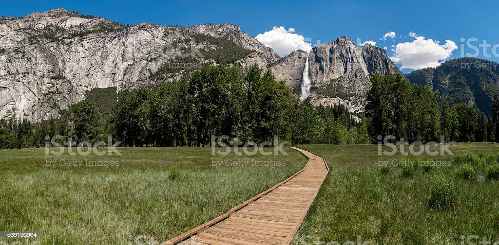 Yosemite Falls Panorama stock photo