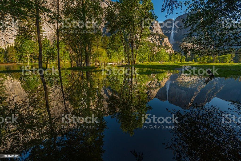 Yosemite Falls Reflection in the Merced River stock photo