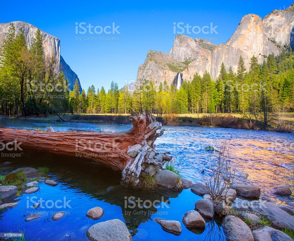 Yosemite Merced River el Capitan and Half Dome stock photo