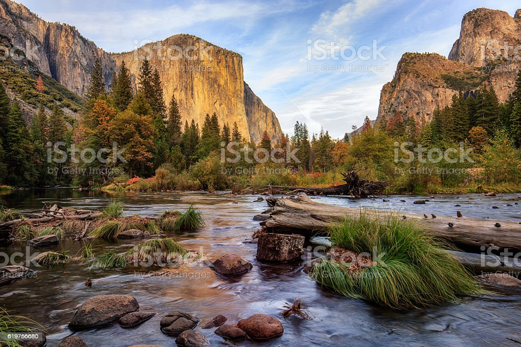 Yosemite Merced River el Capitan Sunset stock photo