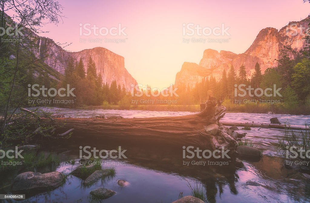 Yosemite National park,, El Capital and Cathedral cliff with river. stock photo