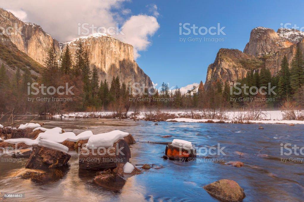 Yosemite National Park in Winter , California stock photo