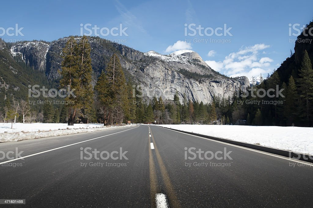 Yosemite National Park road during the winter royalty-free stock photo