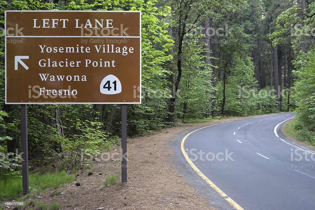Yosemite National Park Road Signs stock photo