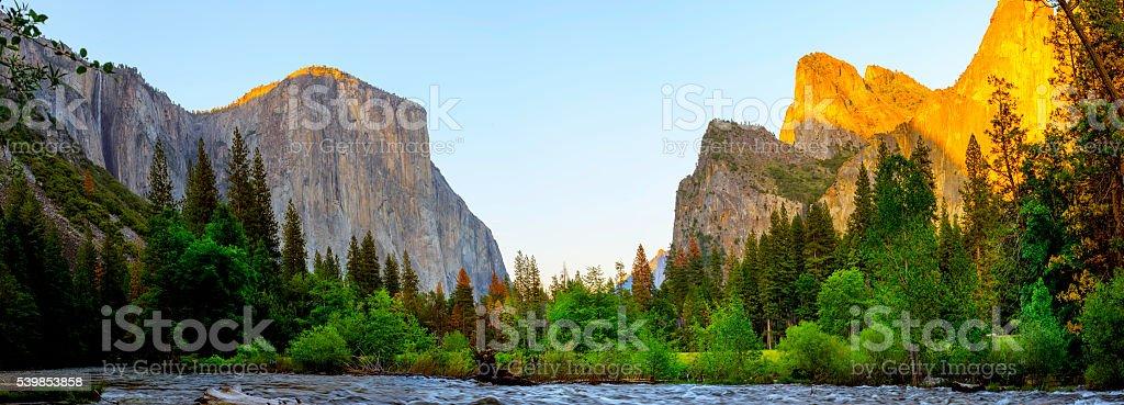 Yosemite Panorama at dusk stock photo