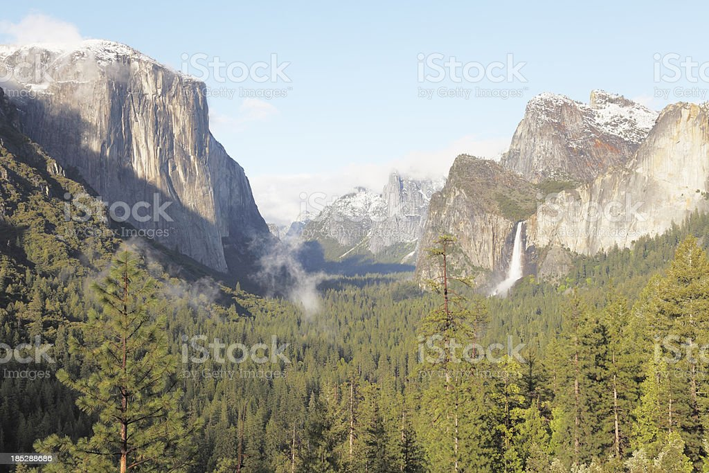 Yosemite Park valley and mountain with waterfall view in spring royalty-free stock photo