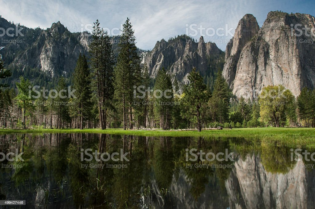 Yosemite Pond with Reflection of Peaks stock photo