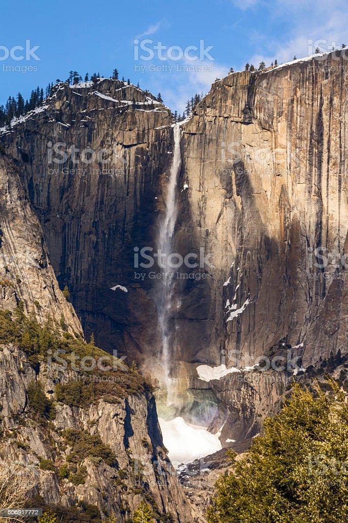 Yosemite Upper Fall in Winter, California stock photo