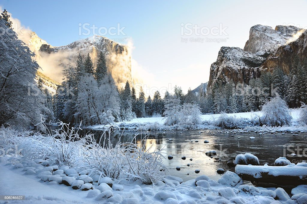 Yosemite Valley After a Fresh Snow stock photo