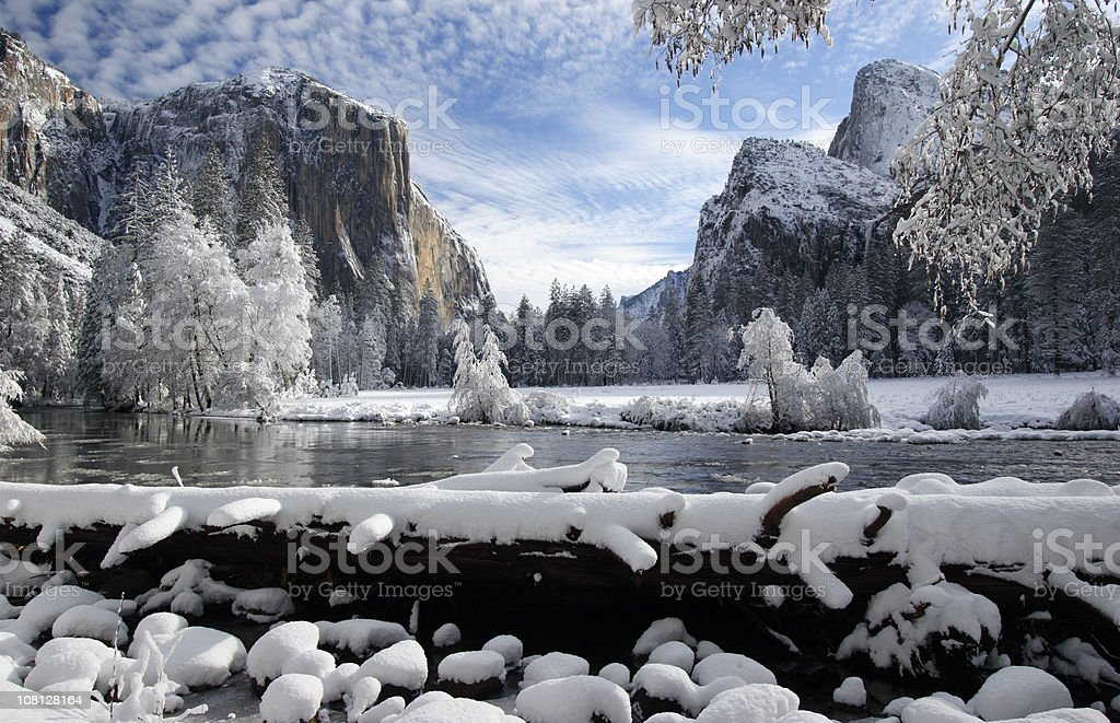 Yosemite Valley After a Fresh Winter Snow royalty-free stock photo