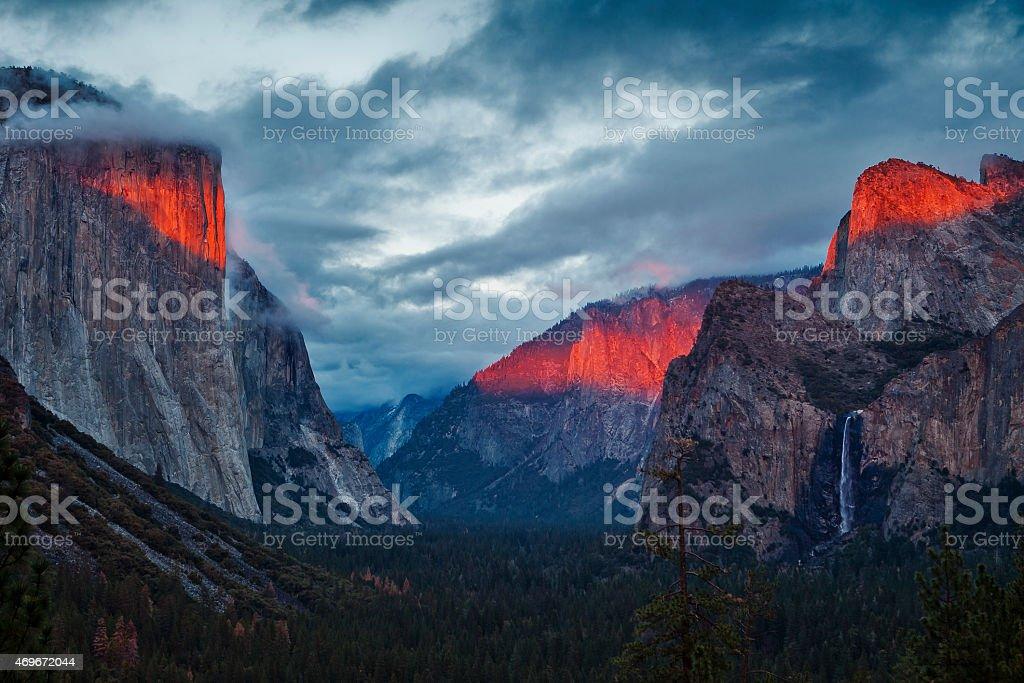 Yosemite Valley During Dramatic Sunset stock photo