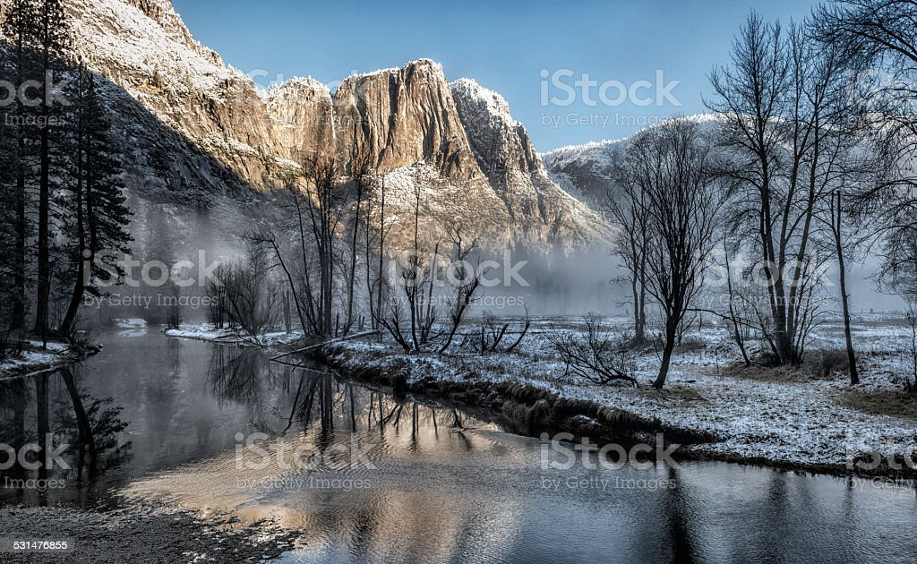 Yosemite Valley First Snow stock photo