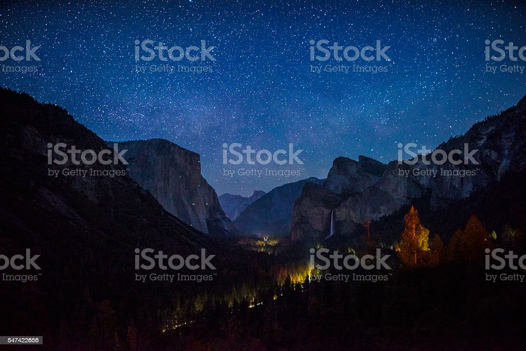 Yosemite Valley night view stock photo