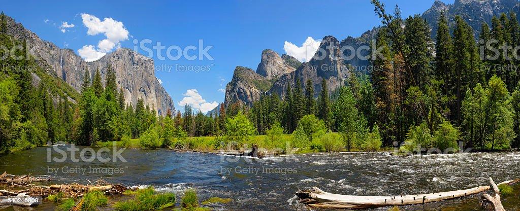 Yosemite Valley Panorama stock photo