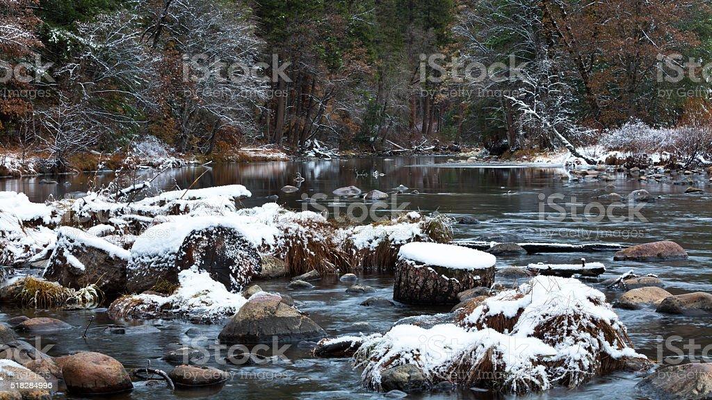 Yosemite Valley winter landscape stock photo