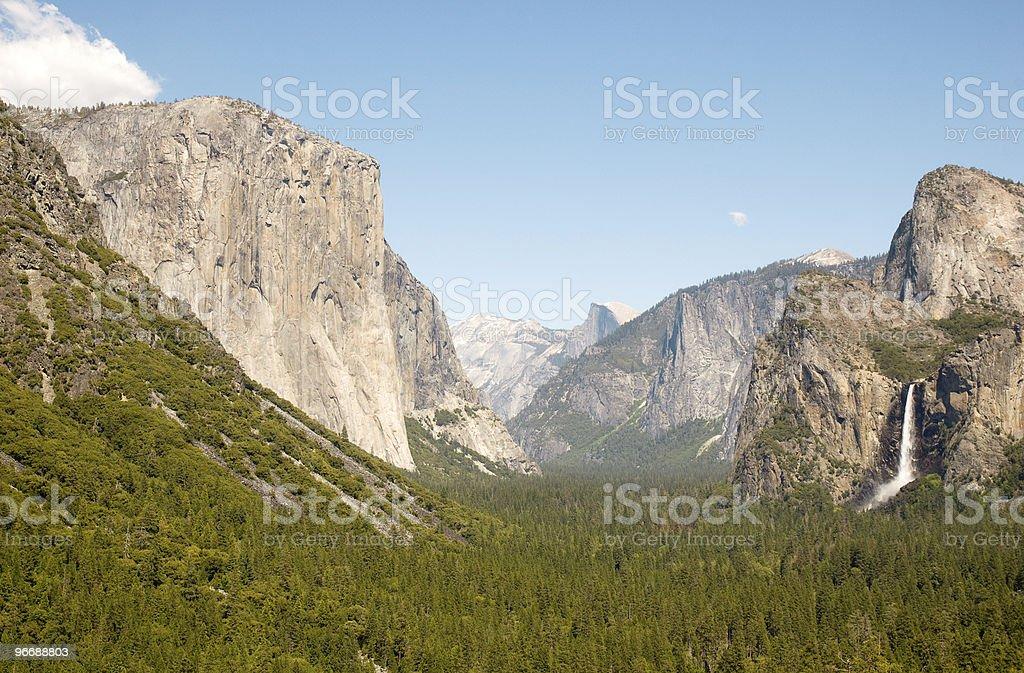 Yosemite Valley,bridalveil falls, el capitan, and half dome royalty-free stock photo