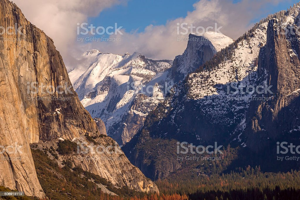 Yosemite's Half Dome covered by Snow,  California stock photo