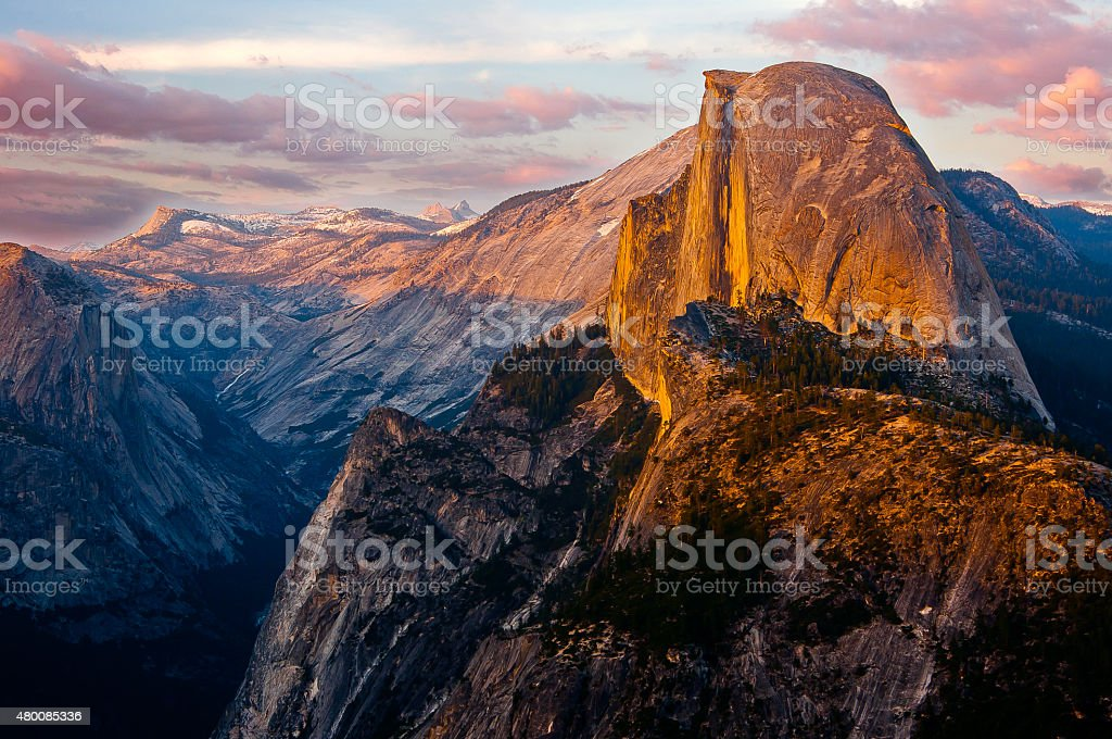 Yosemite's Half Dome - Sunset from Glacier Point stock photo