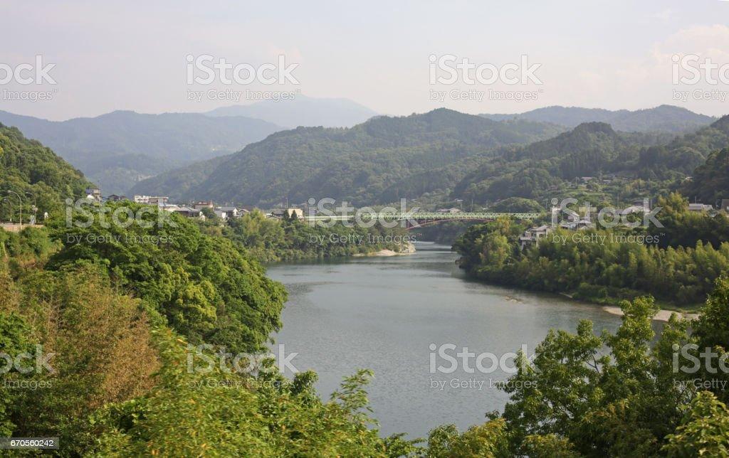 Yoshino River, Miyoshi, Tokushima Prefecture, Shikoku, Japan in Springtime stock photo