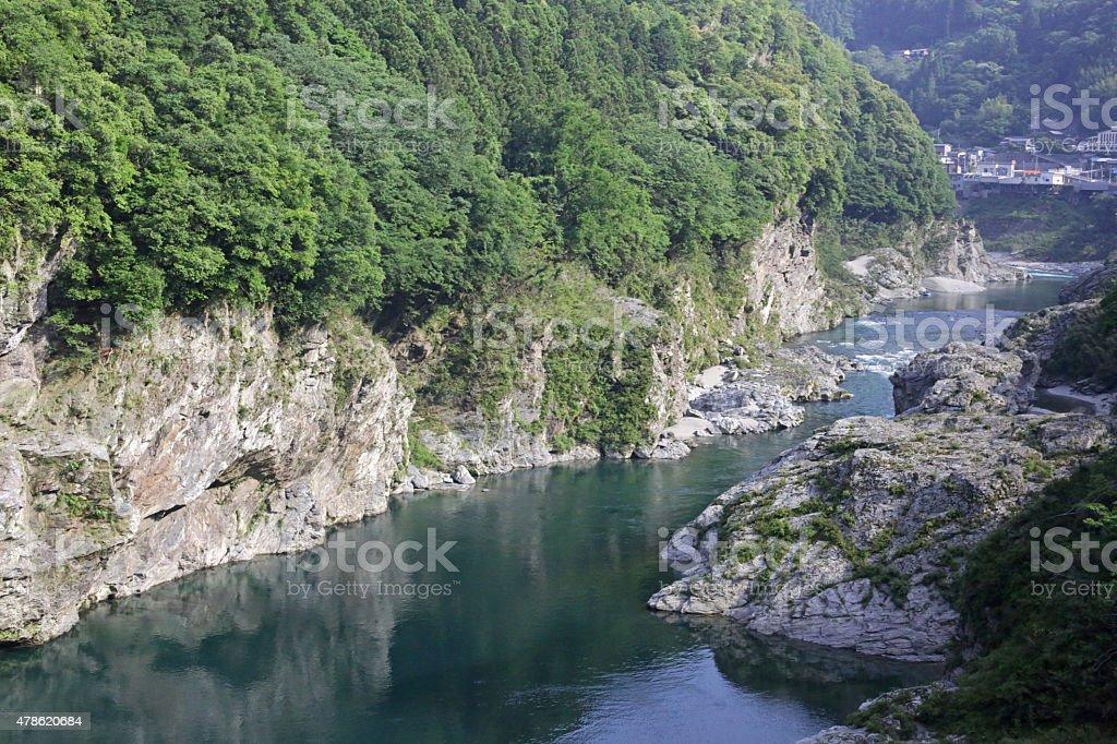 Yoshino River, Tokushima Prefecture, Japan in Spring stock photo