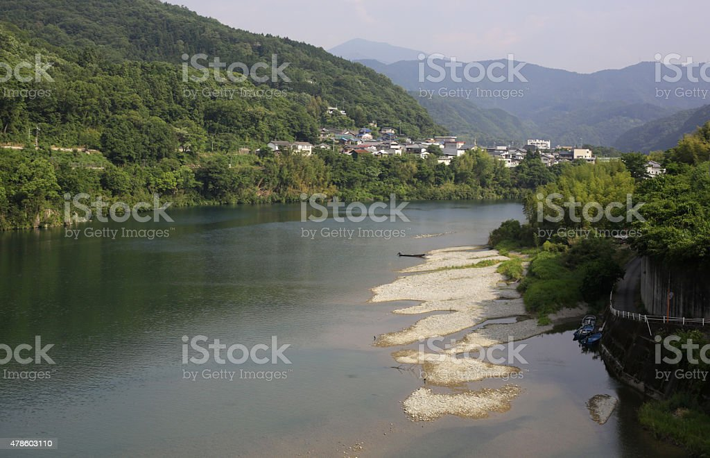 Yoshino River, Tokushima Prefecture, Shikoku, Japan in Spring stock photo