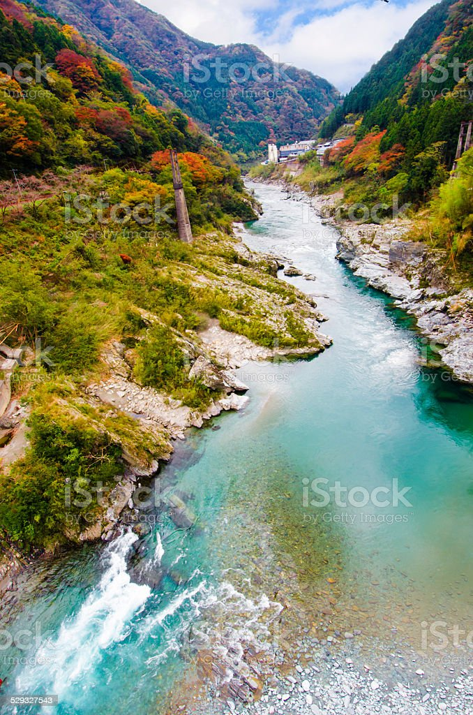 Yoshino river,Oboke Gorges, Tokushima, shikoku, Japan stock photo