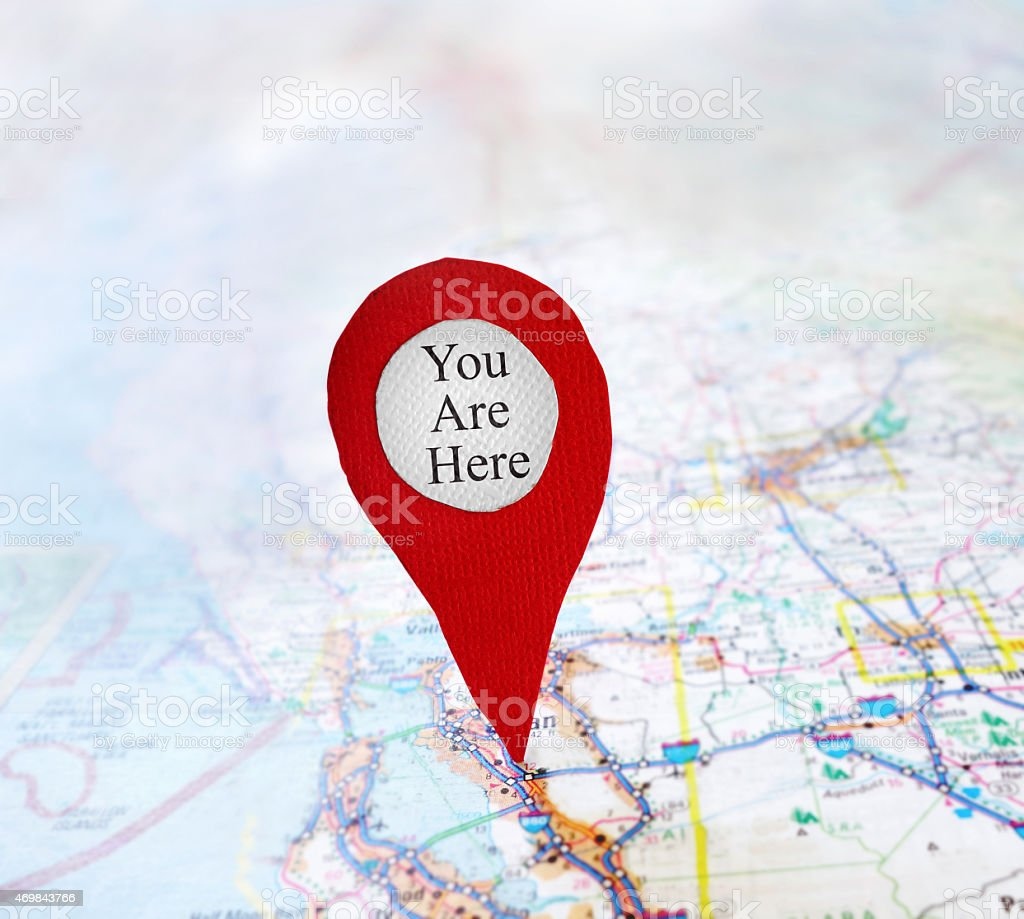 You Are Here red map locator stock photo