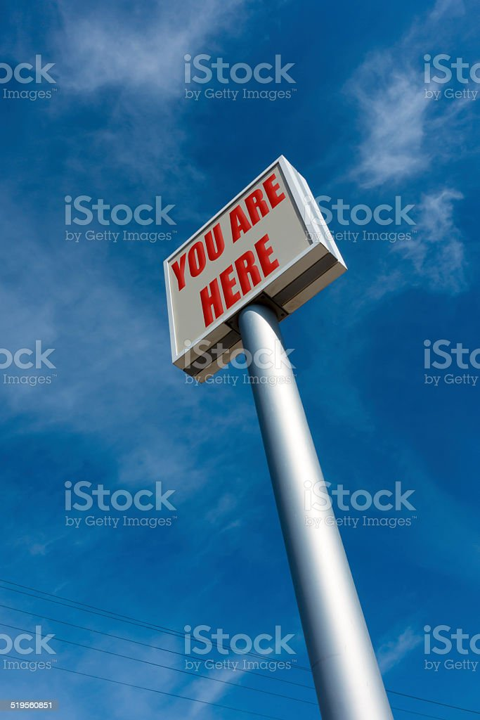 you are here text on huge billboard stock photo