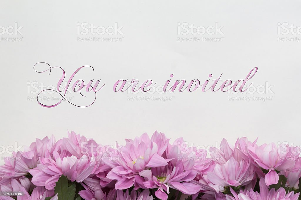 you are invited / invitation flower decoration stock photo