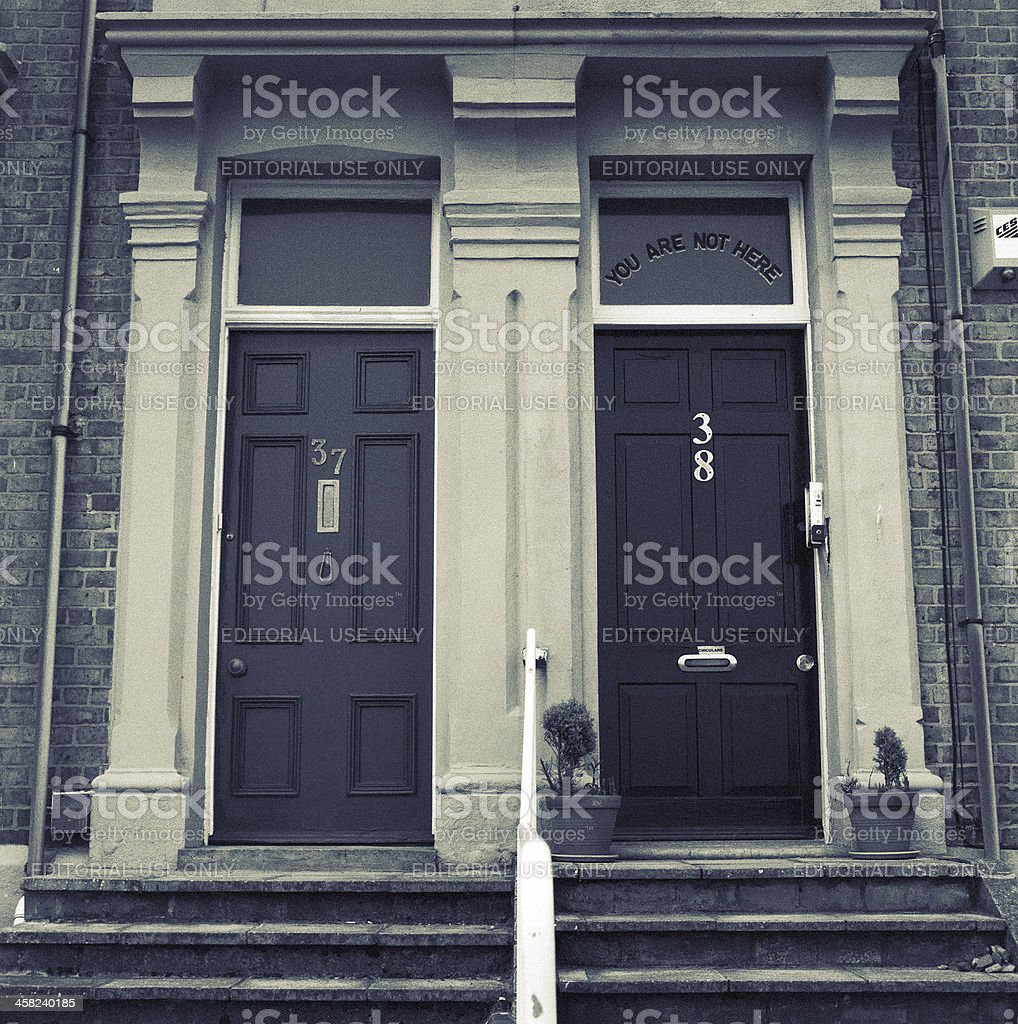 You are not here - doorsteps and house entrances stock photo