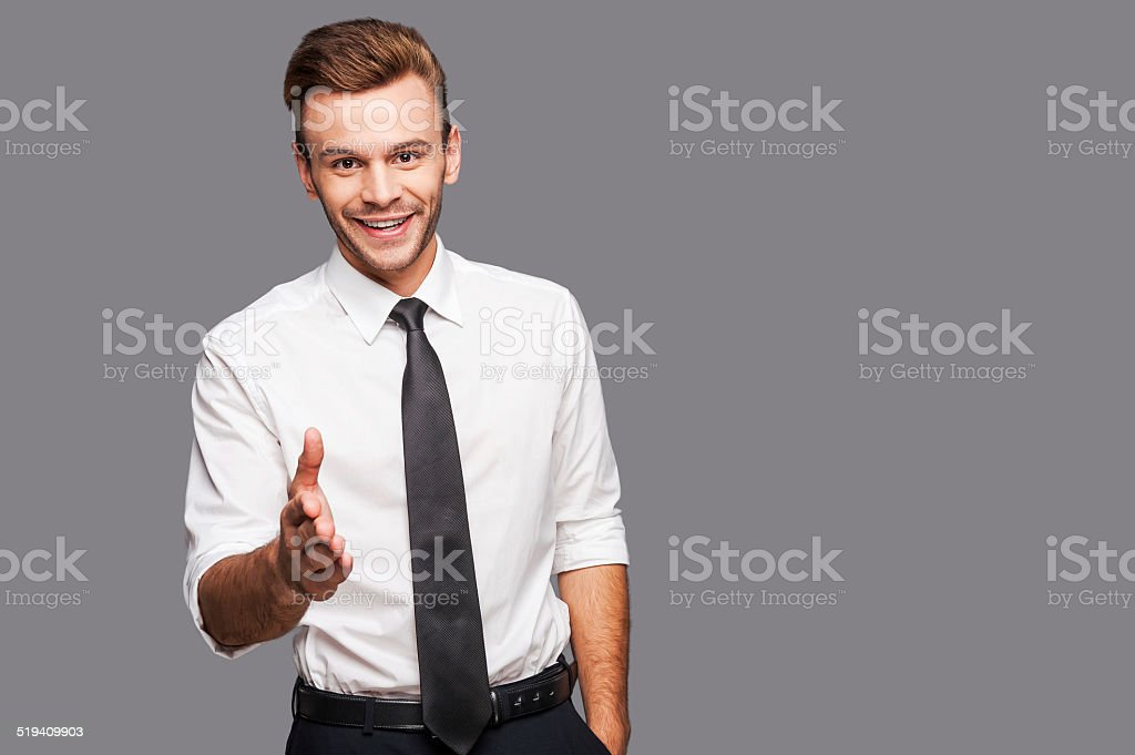 You are welcome in our company! stock photo