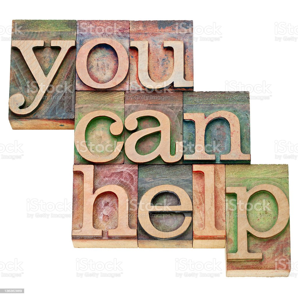You Can Help in blocky letters stock photo