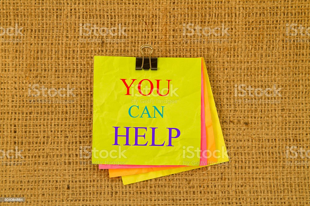 You Can Help Sticky Note stock photo